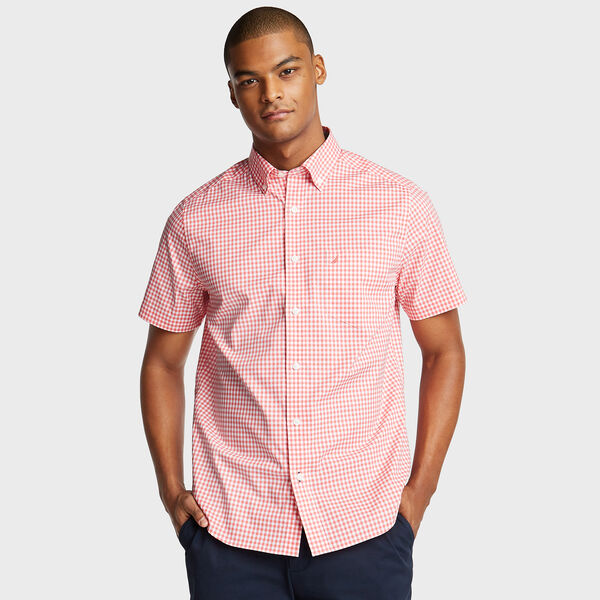 Wrinkle-Resistant Short Sleeve Classic Fit Shirt in Gingham - Spiced Coral