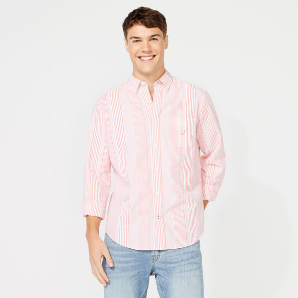 CLASSIC FIT SEERSUCKER STRIPE SHIRT - Coral Dream