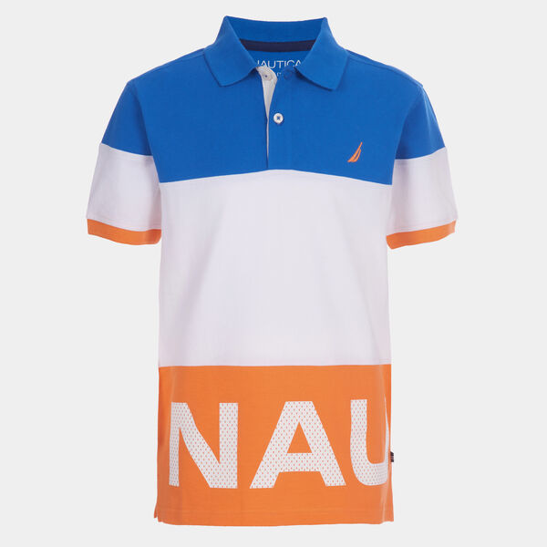 BOYS' COLORBLOCK GRAPHIC MESH HERITAGE POLO (8-20) - Orange