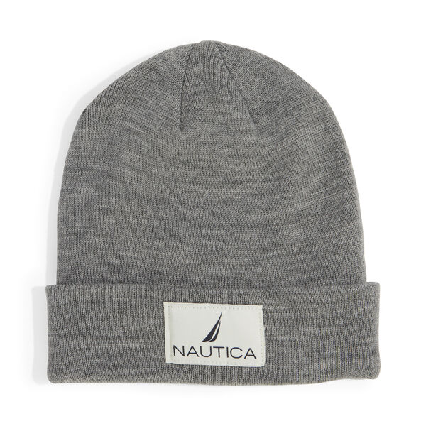 KNIT PATCH CUFF HAT - Grey Heather