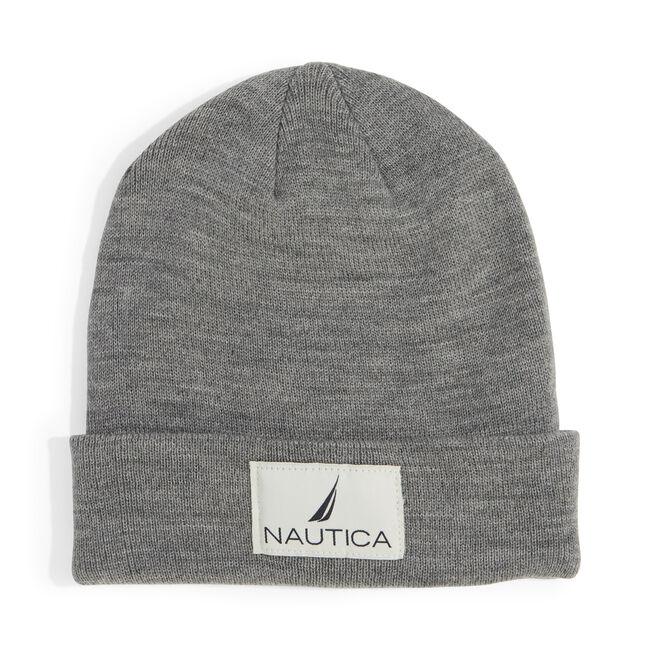 KNIT PATCH CUFF HAT,Grey Heather,large