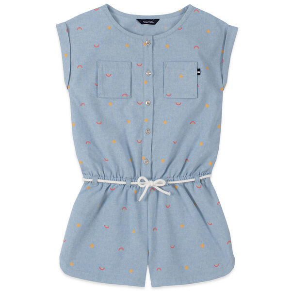 TODDLER GIRLS' RAINBOW SCHIFFLI PRINT CHAMBRAY ROMPER (2T-4T) - Nite Sea Heather