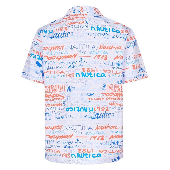 BOYS' MARCELO ALL OVER PRINTED SHORT SLEEVE WOVEN SHIRT (8-20),Livng Coral,large