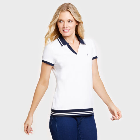 Short Sleeve Classic Fit Nautical Polo - Bright White