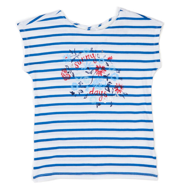 Girls' Sunny Days Striped Top (7-16),White,large