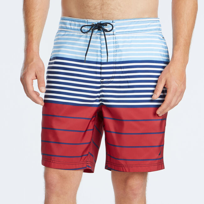 "8"" MIXED STRIPE QUICK-DRY SWIM,Nautica Red,large"