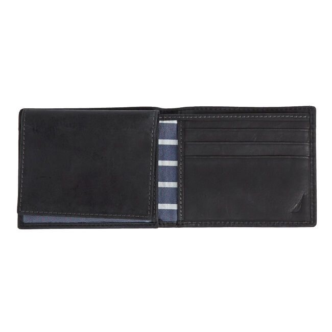 Shipley Passcase Wallet With Sewn Flap,Black,large