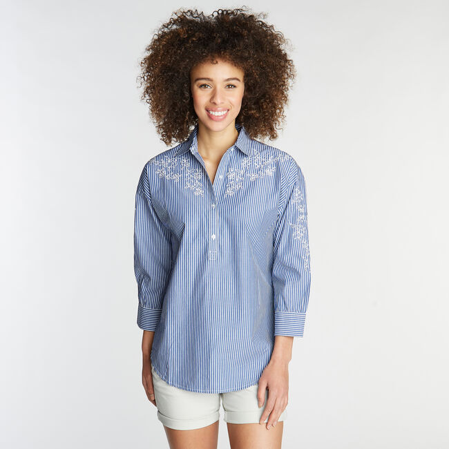 Classic Fit Embroidered Poplin Shirt in Stripe,Deep Navy Heather,large