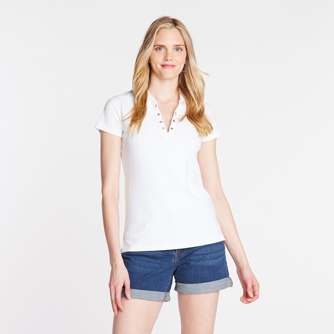Short Sleeve Classic Fit Polo with Grommet Detail,Bright White,large