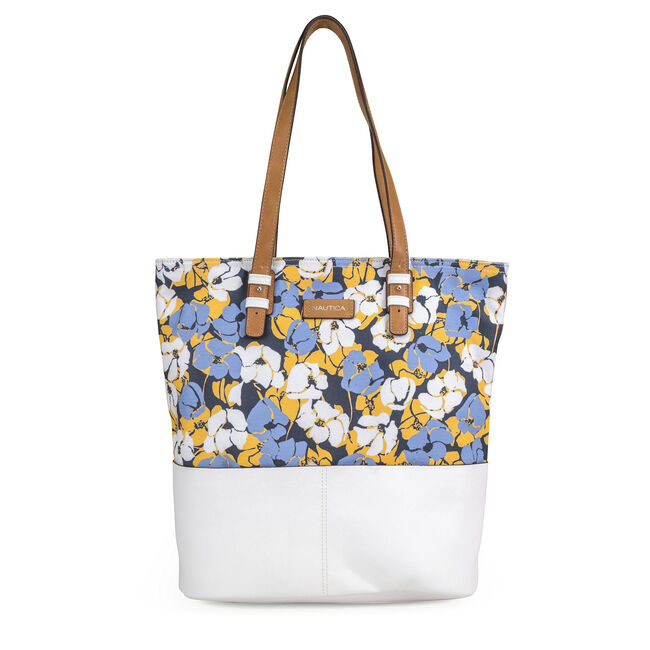 Quayside Tote - Poppy Print,White,large
