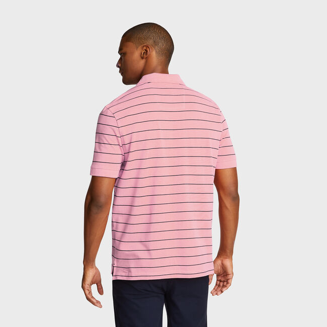 Classic Fit Mesh Polo in Breton Stripe,Mauve Glow,large