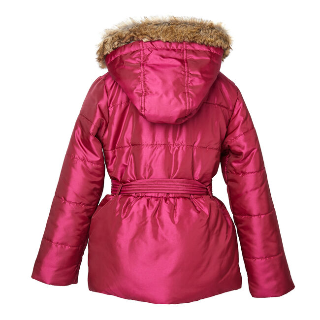 Girls' Faux Fur Hooded Coat (8-16),Tango Red,large