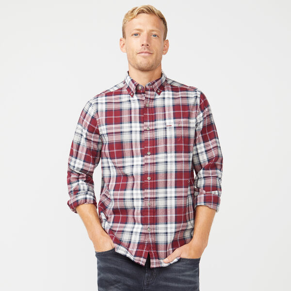 CLASSIC FIT LONG SLEEVE TWILL PLAID SHIRT - Zinfandel