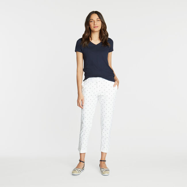 CLASSIC FIT CHINO PANT IN ANCHOR EMBROIDERY,Bright White,large