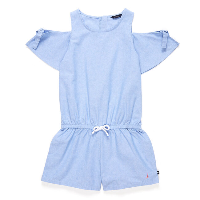 Toddler Girls' Chambray Tie-Sleeve Romper (2T-4T),Bright Cobalt,large