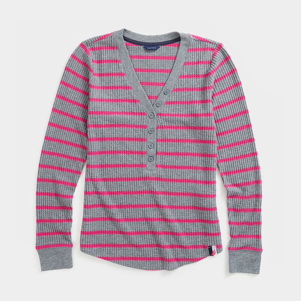 STRIPE THERMAL HENLEY - Quarry Heather