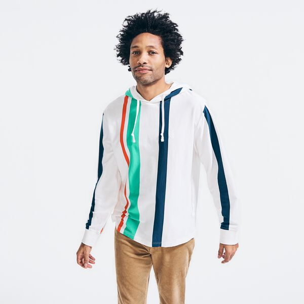 STRIPE SPINNAKER HOODED LONG SLEEVE T-SHIRT - White