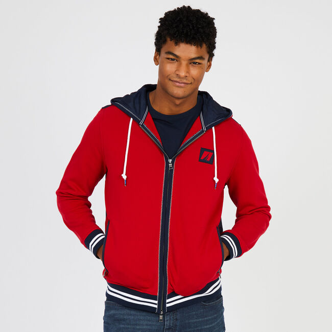 Big & Tall Contrast Stripe Full-Zip Hoodie,Nautica Red,large