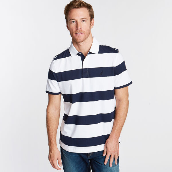 Stripe Classic Fit Polo - Bright White