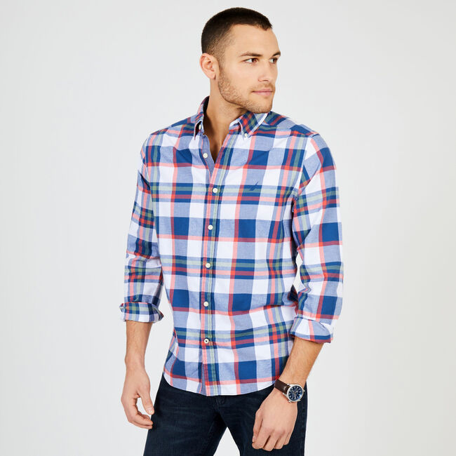 Long Sleeve Brushed Twill Plaid Classic Fit Shirt,Ensign Blue,large