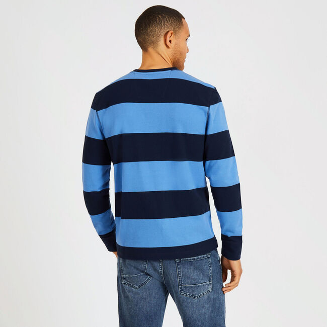 Rugby Stripe Crewneck Sweater,Pure Dark Pacific Wash,large