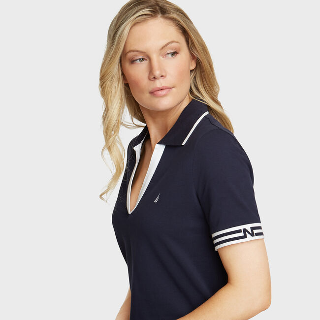 Elbow Sleeve Classic Fit Polo,Stellar Blue Heather,large