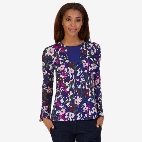 Floral Bell Cuff Top - Navy