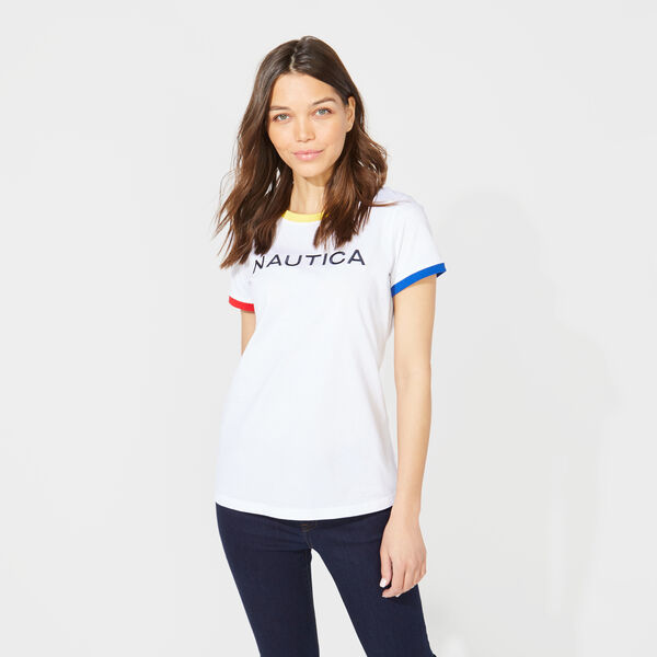 COLORBLOCK NAUTICA LOGO RINGER TOP - Bright White