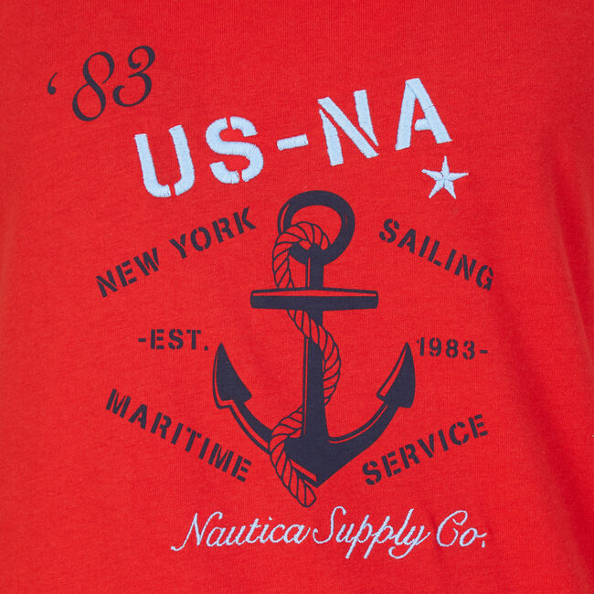 Nautica Supply T-Shirt,Red,large