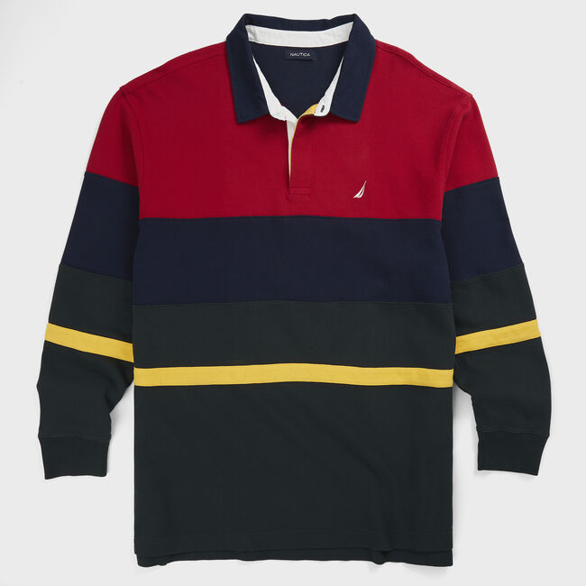 BIG & TALL COLORBLOCK LONG SLEEVE RUGBY POLO,Nautica Red,large