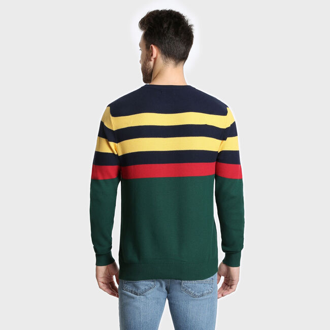 Honeycomb Striped Crewneck Sweater,Pacific Pine,large