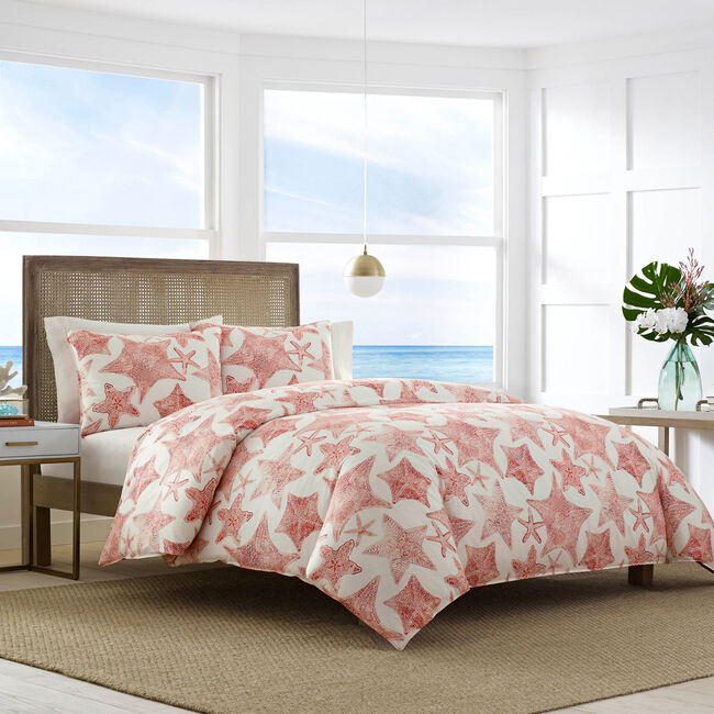 Ripple Coral Full/Queen Duvet & Sham Set,Flame Red,large