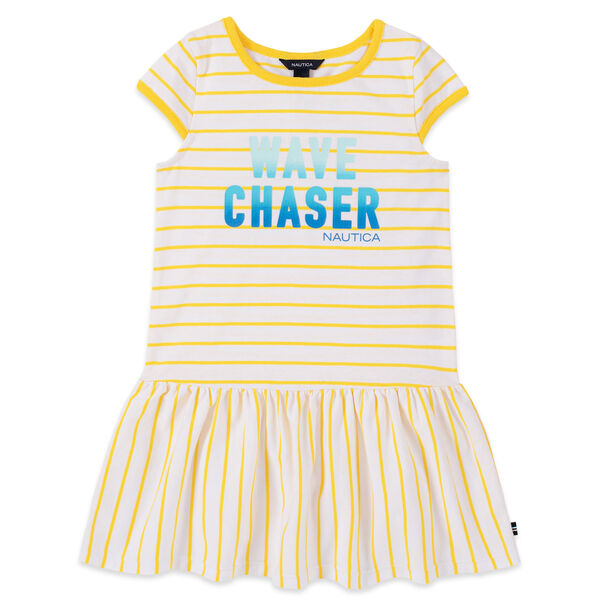 GIRLS' STRIPED WAVE CHASER SEQUIN GRAPHIC DRESS (8-16) - Yellow Zest