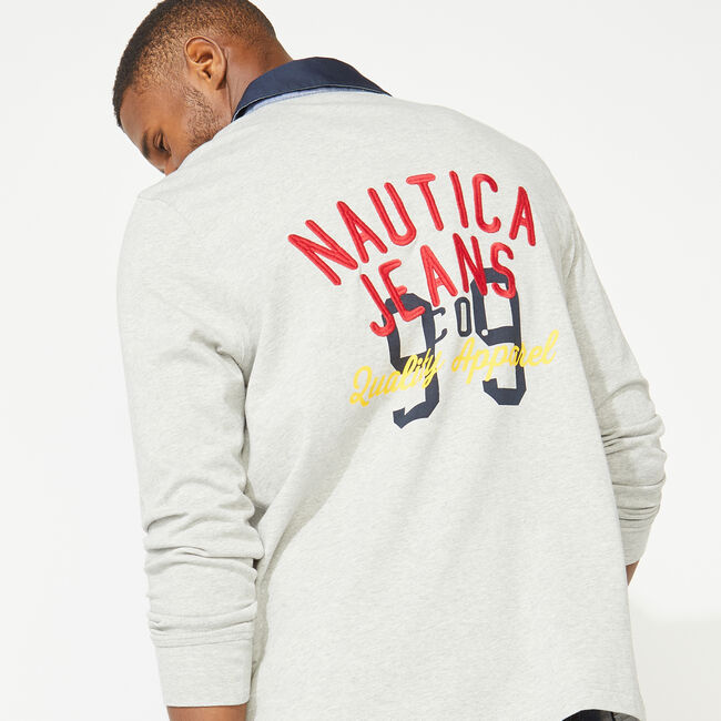 NAUTICA JEANS CO. BACK GRAPHIC LONG SLEEVE RUGBY,Grey Heather,large