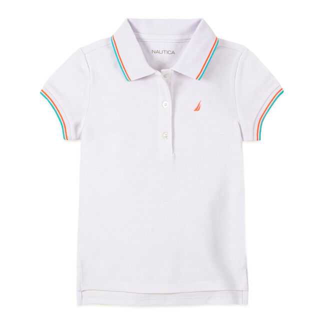 TODDLER GIRLS' CONTRAST TRIM POLO (2T-4T),Antique White Wash,large