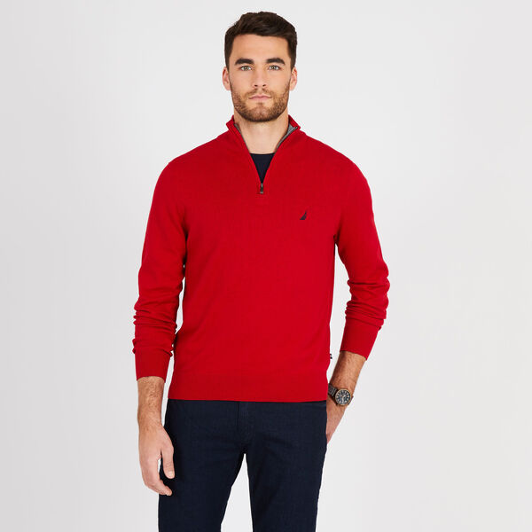 Big & Tall Quarter-Zip Mock-Neck Sweater - Nautica Red
