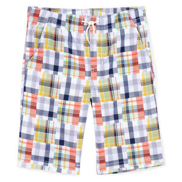 Toddler Boys' Kauai Woven Short in Patchwork Plaid (2T-4T) - White