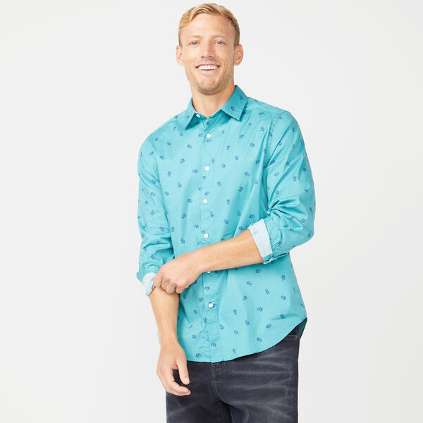 CLASSIC FIT SCATTERED FLORAL PRINT OXFORD SHIRT - Teal Wave