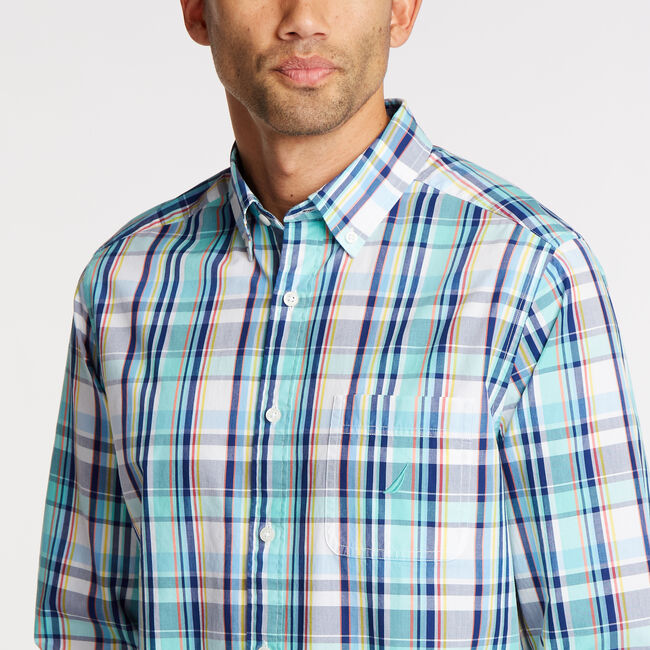 Classic Fit Shirt in Plaid,Pool Side Aqua,large