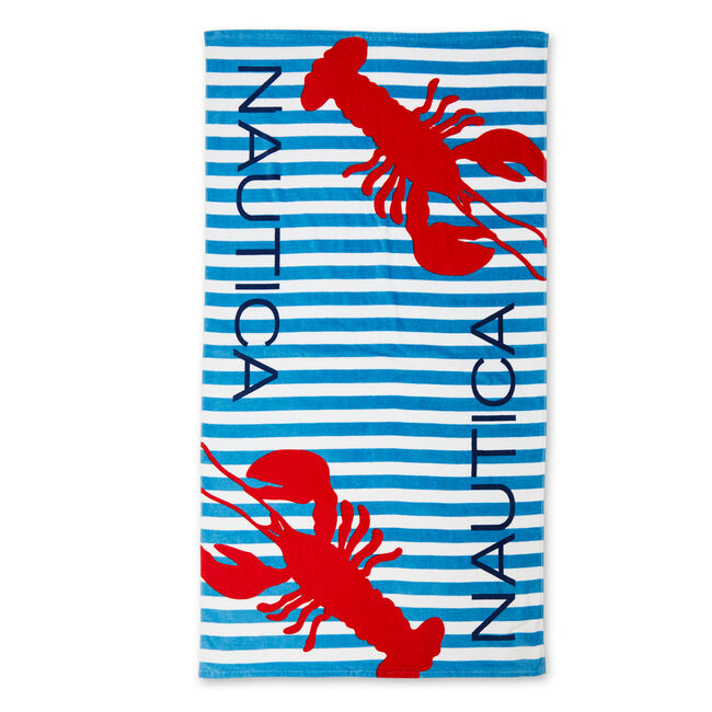 Lobster + Striped Beach Towel,Ice Blue,large
