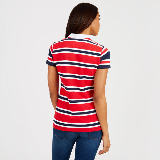 Mixed-Stripe Classic Fit Split-Neck Polo,Tomales Red,large