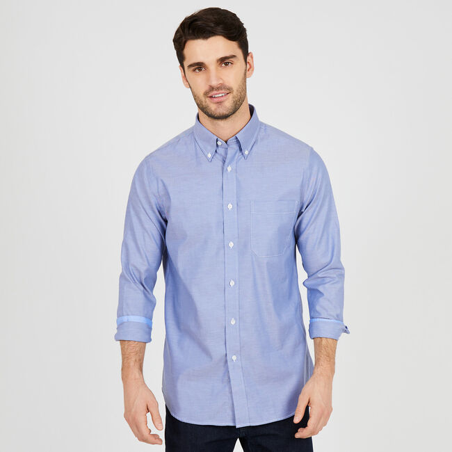 Iron-Free Classic Fit Chambray Long Sleeve Shirt,Workshirt,large
