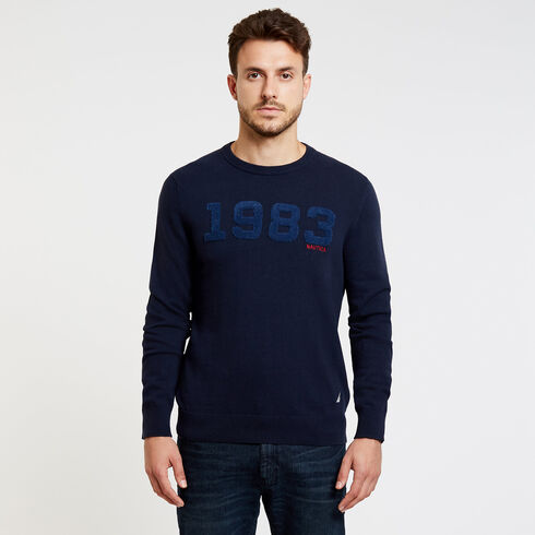 Jersey Sweater with Flocked Logo - Navy