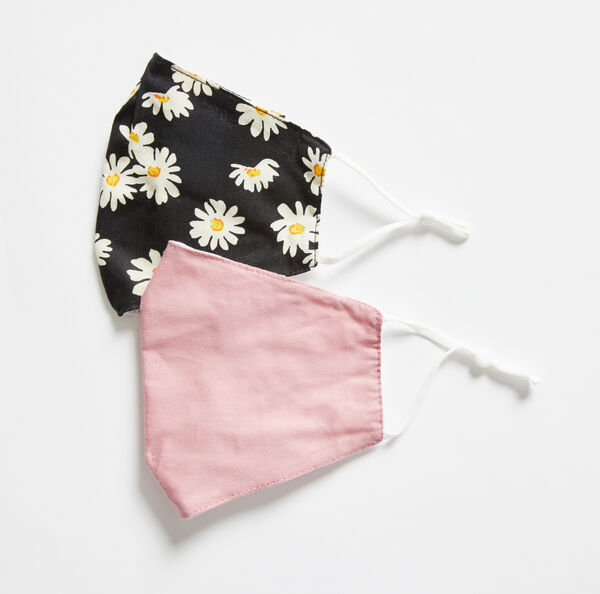 DAISY PRINT AND SOLID REUSABLE FACE MASK, 2 PACK - Nautica Red/Orange