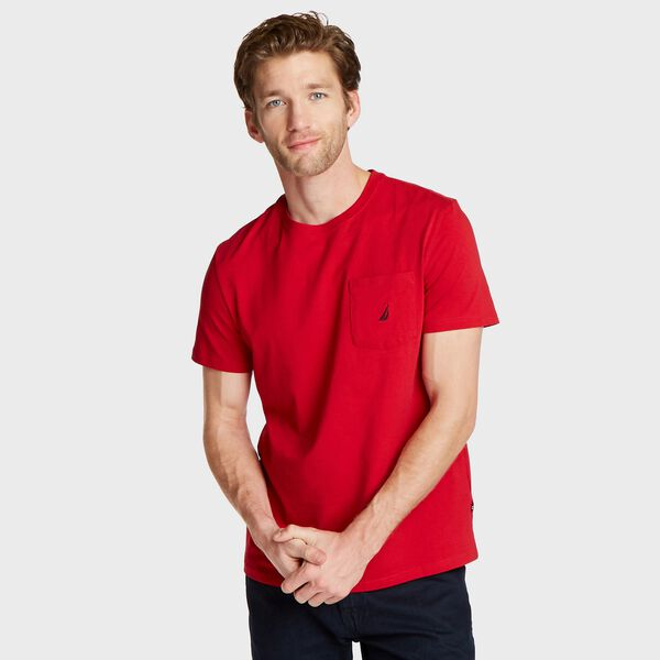 Short Sleeve Solid Pocket T-Shirt - Nautica Red