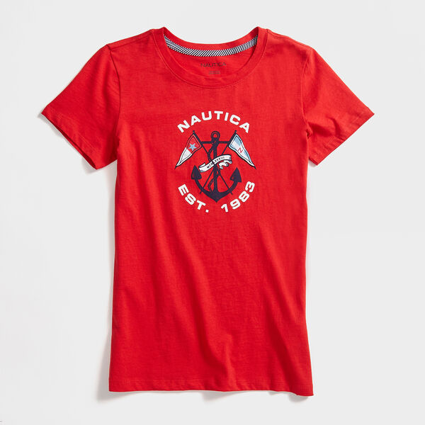 CROSSED ANCHOR AND FLAG T-SHIRT - Tomales Red