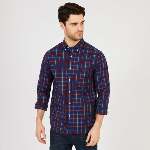 Big & Tall Long Sleeve Classic Fit Wrinkle-Resistant Plaid Shirt - Royal Burgundy