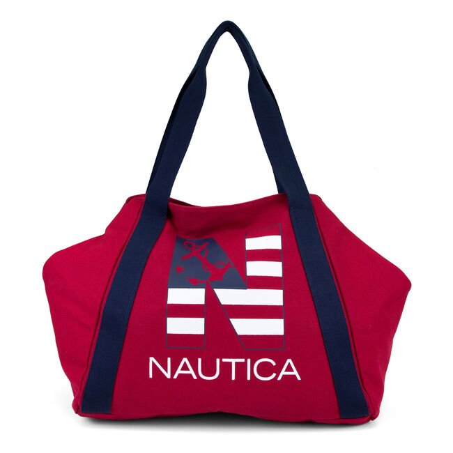 Americana Logo Canvas Tote,Navy,large