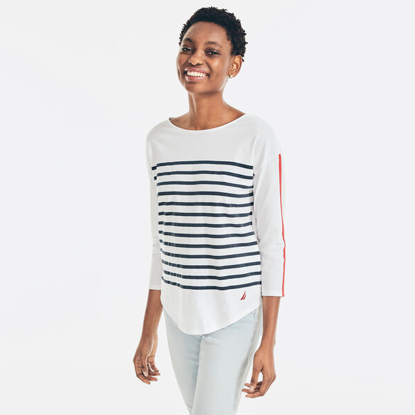 STRIPED THREE-QUARTER SLEEVE TOP - Bright White