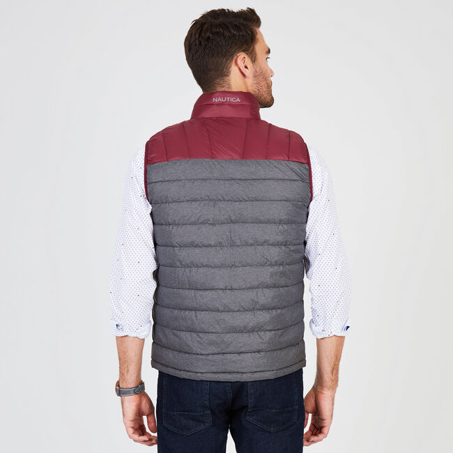 Reversible Two-Tone Puffer Vest,Charcoal T,large